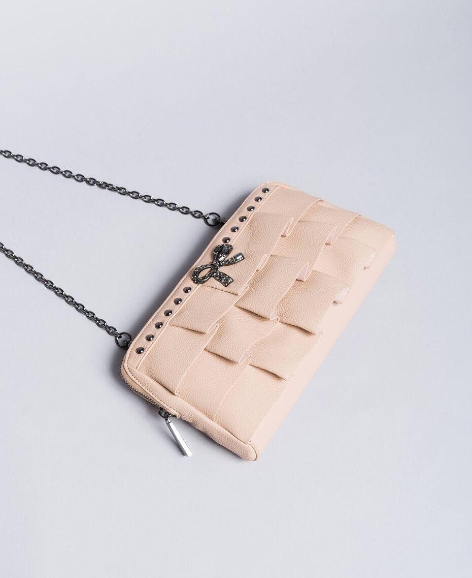 "Faux leather clutch bag with ruches ""Nude"" Beige Woman VA8PAR-02"