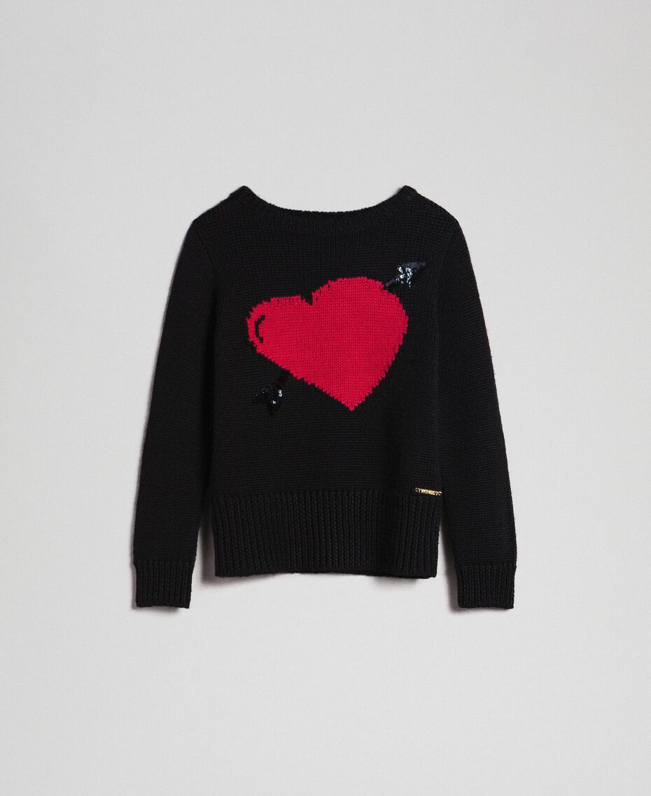 Jumper with inlaid hearts Black / Jacquard Child 192GJ3191-0S