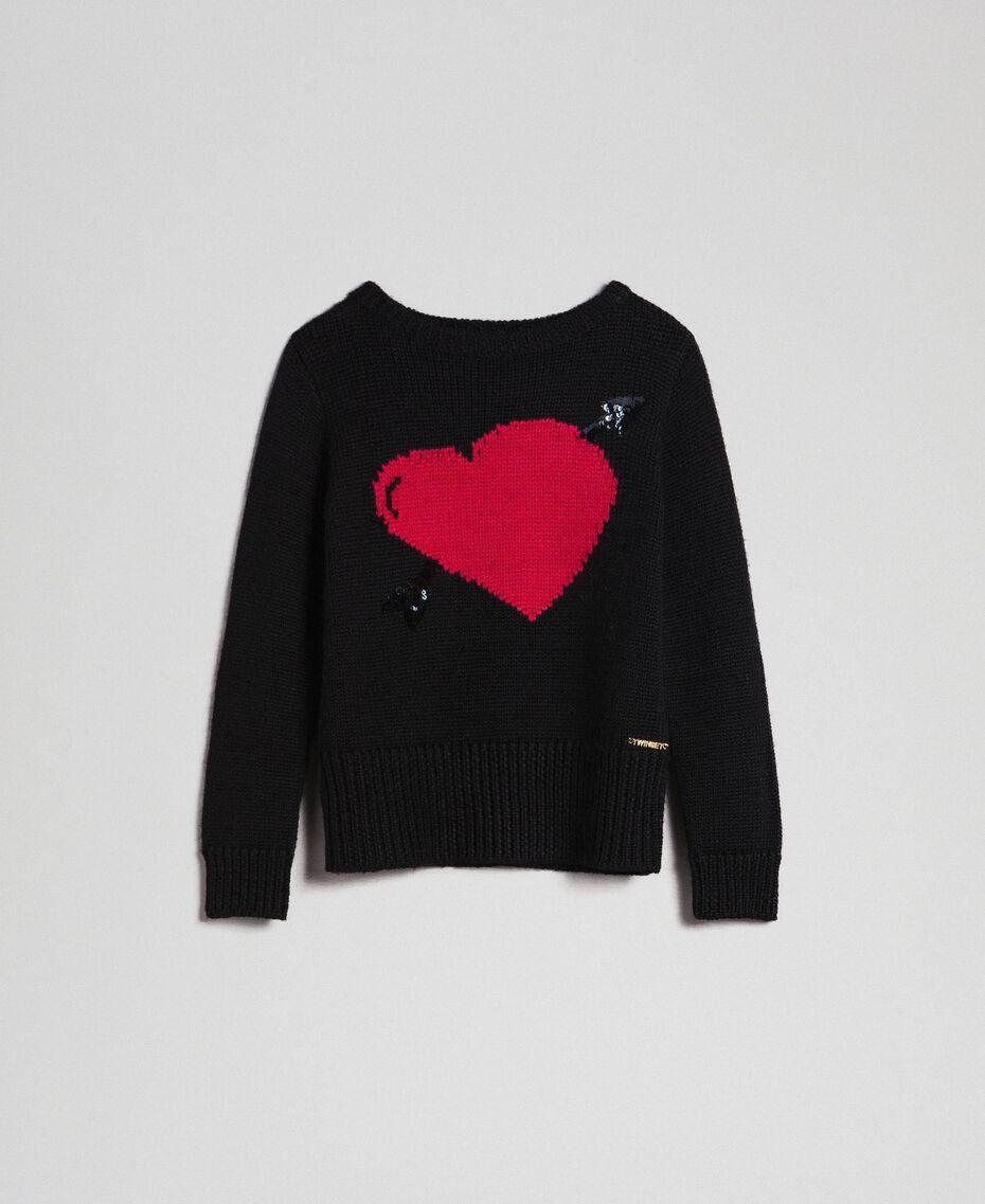 Maglia con cuore a intarsio Nero / Jacquard Bambina 192GJ3191-0S