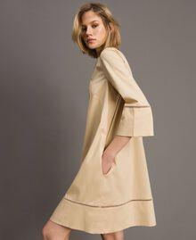 """Popeline-Kleid mit Stickerei """"Marzipan"""" Beige Frau 191TT2242-01"""