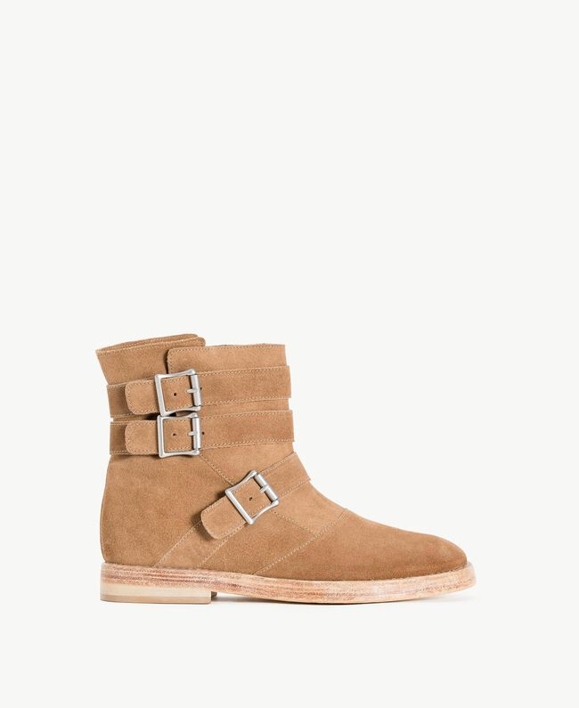 TWINSET Buckle biker boots Ecrù Woman CS8PDC-01