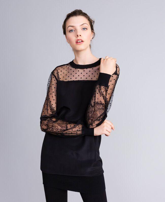 Maxi crêpe de Chine silk sweatshirt Black Woman PA82B4-01