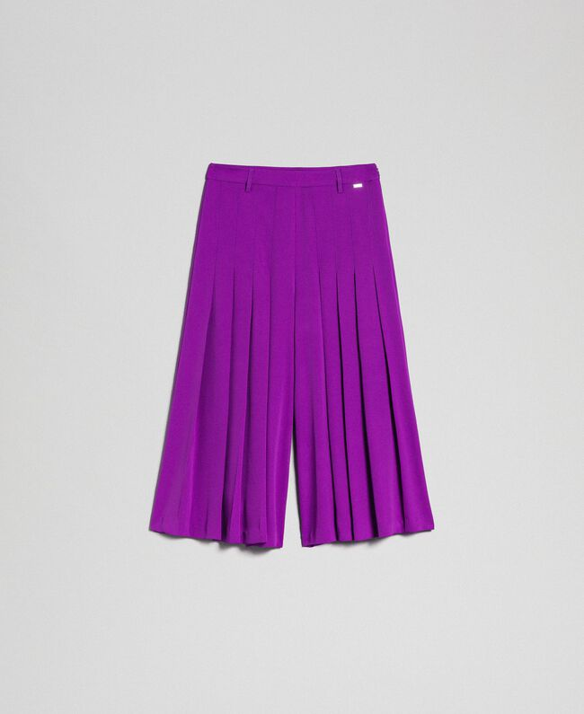 Trouser-skirt with pleats and logo Purple Woman 192ST2164-0S