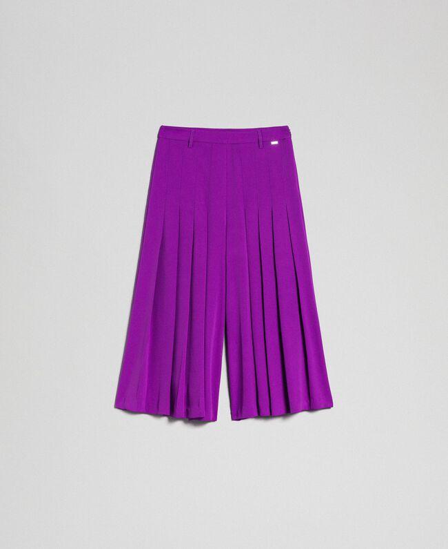 Jupe-culotte avec plis et logo Violet Femme 192ST2164-0S