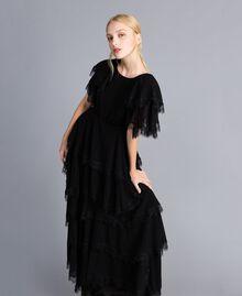 Robe longue en crêpe georgette volanté Noir Femme TA828E-04