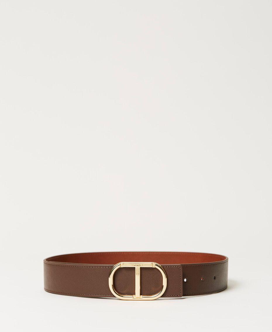 Cinturón de piel con hebilla logotipo Bicolor Marrón «Cuero» / «Marrón Oscuro» Mujer 211TO5063-01