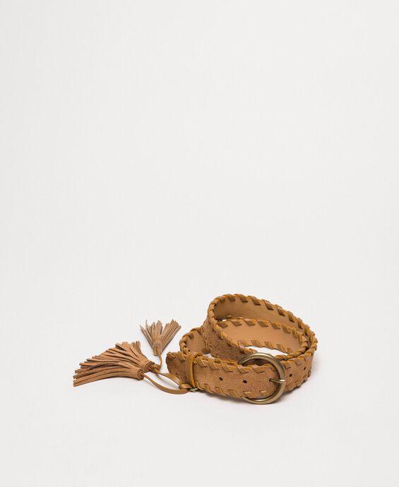 Ceinture en cuir velours avec pompons