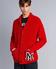 Cardigan in lana e alpaca Rosso Papavero Uomo UA83DB-02