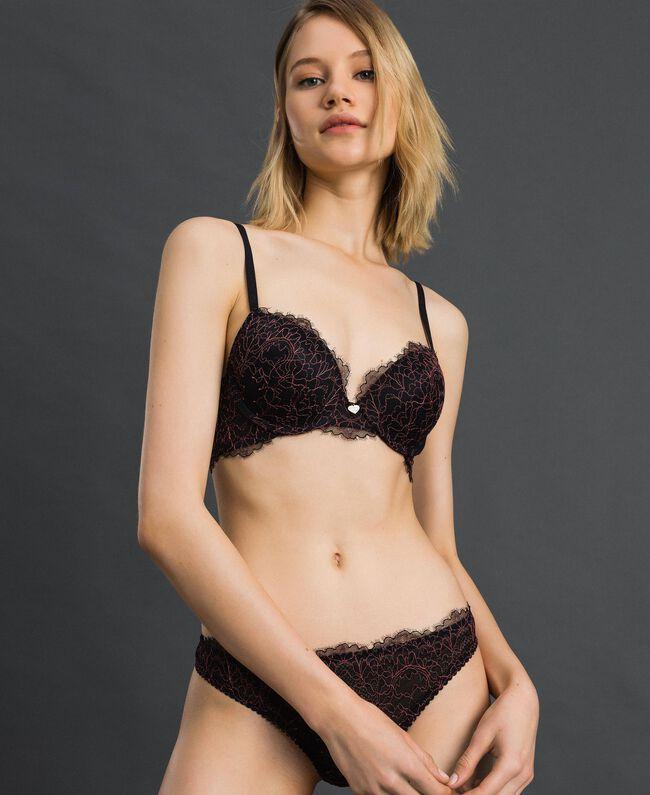 String en dentelle et tulle Noir / Rose «Dolly» Femme 192LI6488-01
