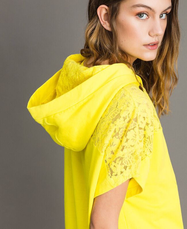 Maxi sweatshirt with hood and lace Fluorescent Yellow Woman 191MT2340-05