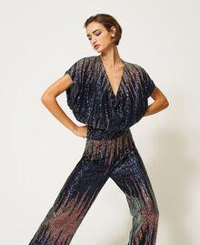 Bluse mit Alloverpailletten im Farbverlauf Mehrfarbige irisierende Pailletten Frau 202MP2481-01