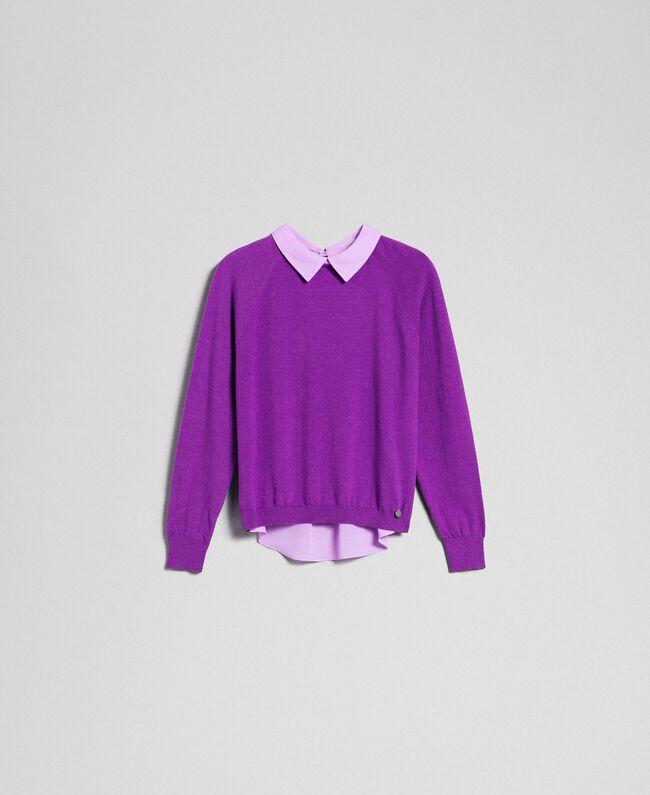 Pull en mélange de laine et crêpe georgette Violet / Rose «Glycine» Femme 192ST3060-0S