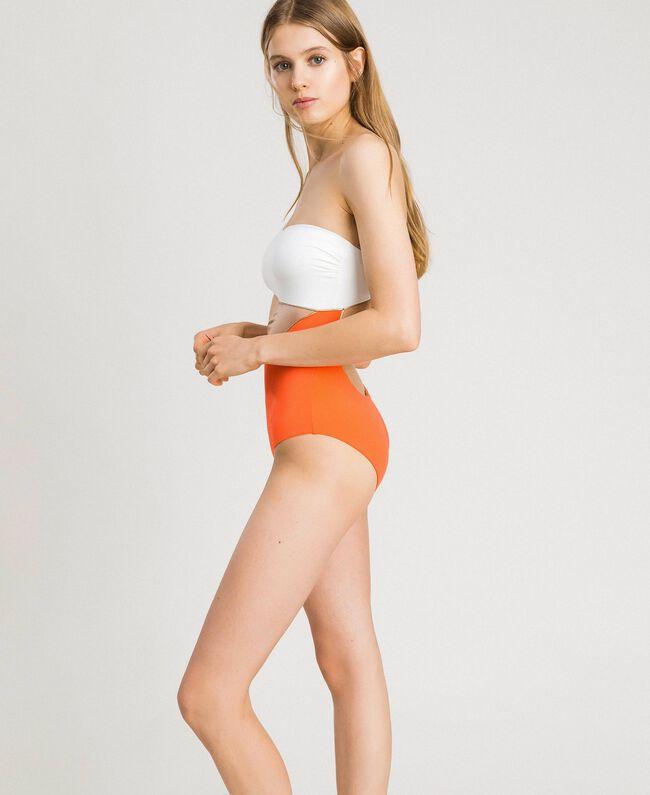 "Einschultriger Badeanzug im Color-Block-Look Multicolour ""Orange Juice"" / ""Milkyway"" Beige / ""Petra Sandstone"" Braun Frau 191LMMHZZ-04"