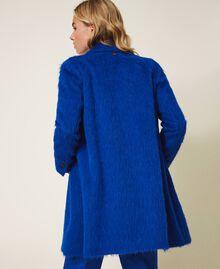 Mantel aus gerautem Tuch Dunkles Kornblumenblau Frau 202TP2602-03