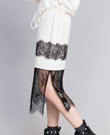 Jupe mi-longue en soie Blanc Neige Femme PA82EP-04
