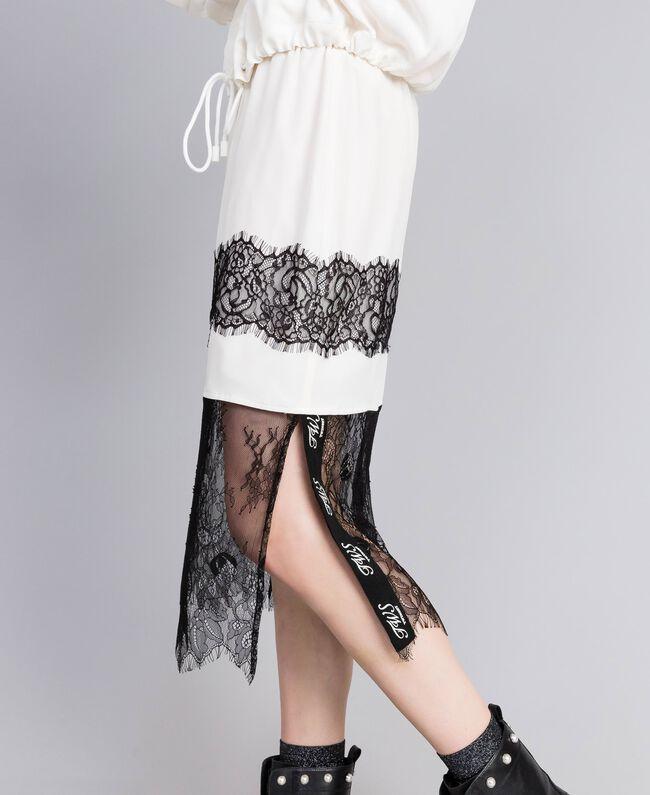 Mid-length silk skirt White Snow Woman PA82EP-04