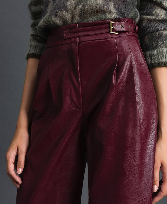 Pantalon ample en similicuir Rouge Velours Femme 192TT203C-04
