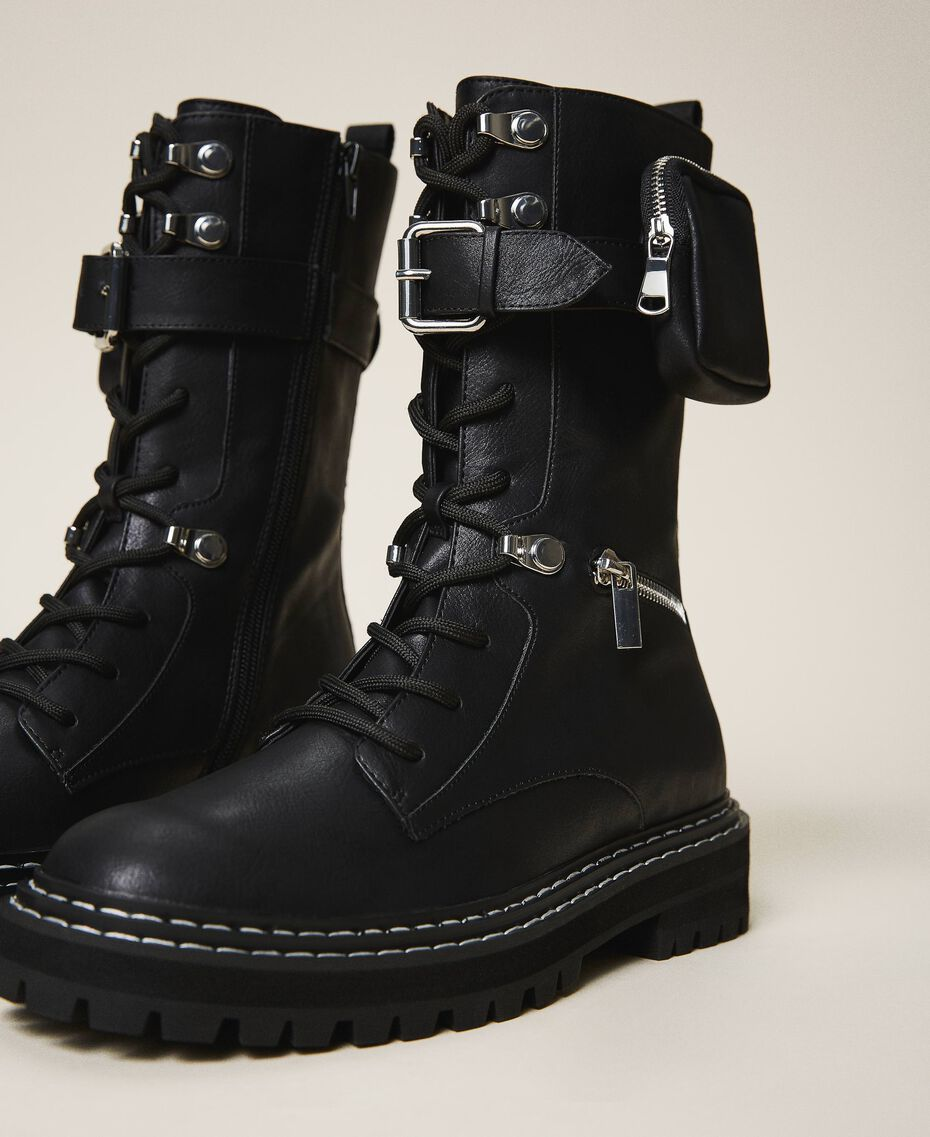 Combat boots with zip and side pocket Black Woman 202MCT122-01