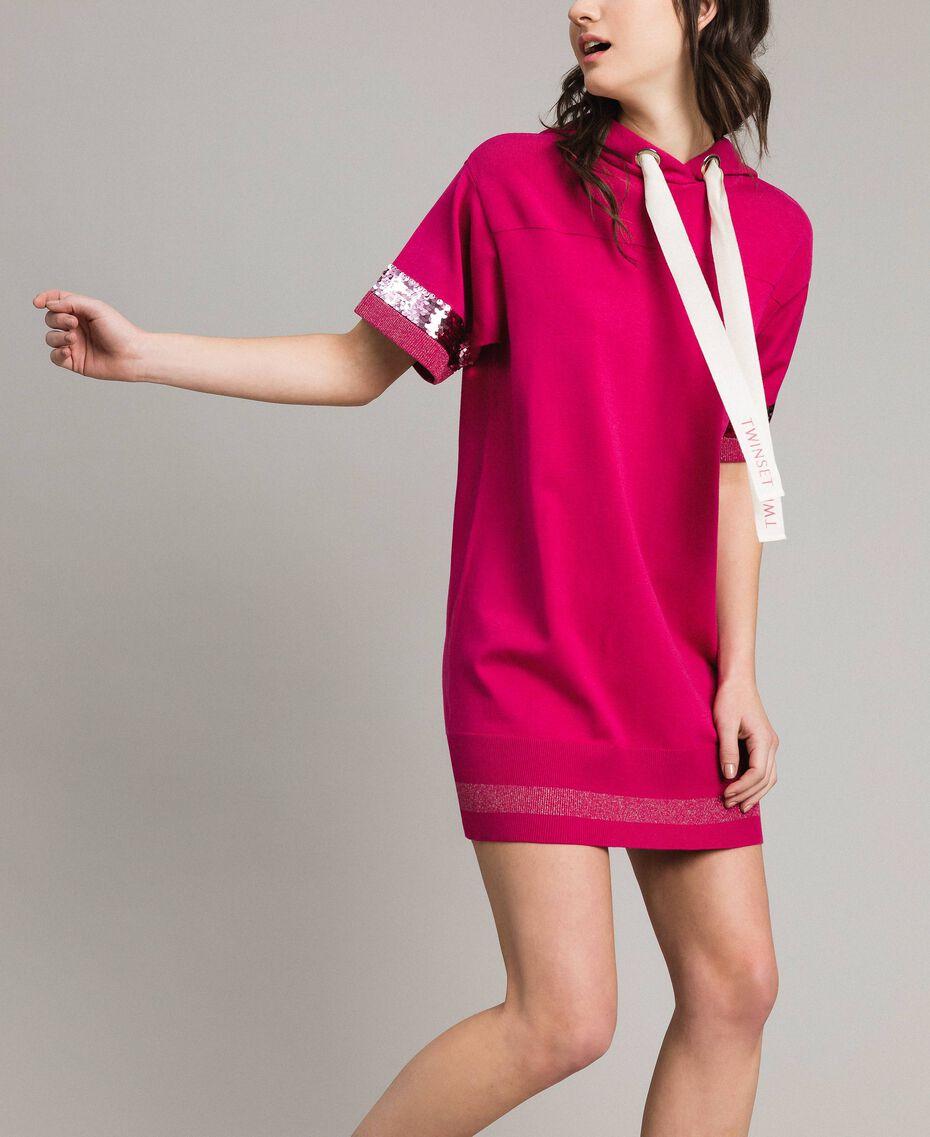 Viscose mini dress with sequins Rose Blossom Woman 191LL35QQ-02