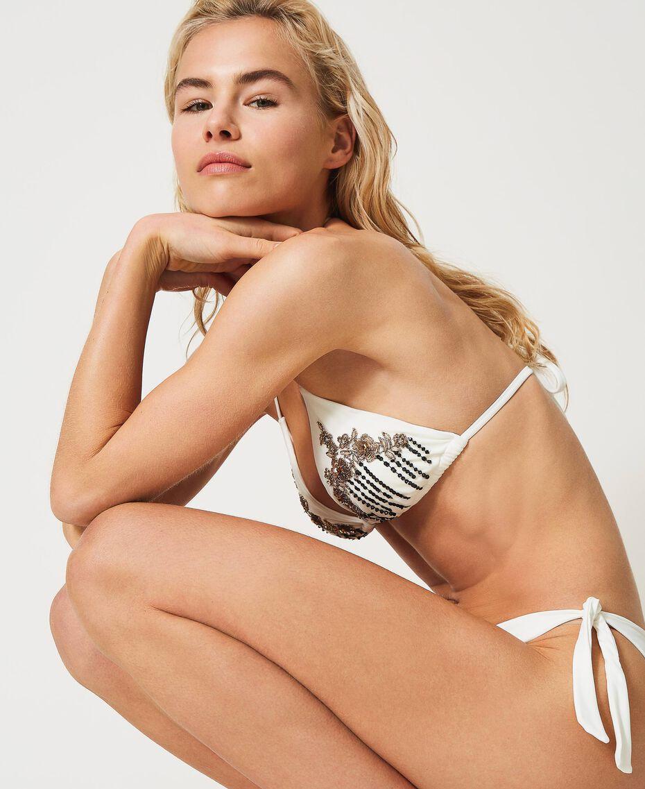 Купальный лиф с треугольными чашками с вышивкой Слоновая кость женщина 211LMM322-01