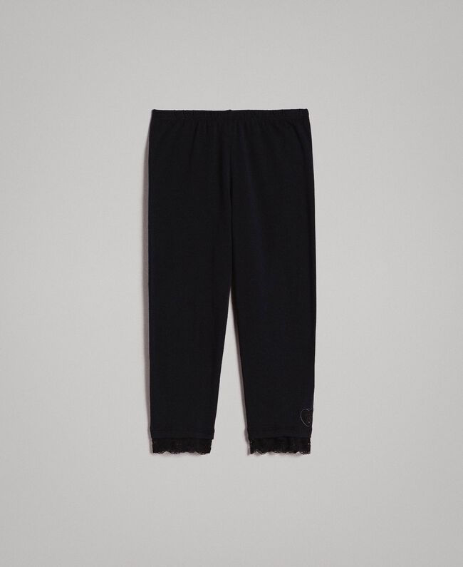Jersey leggings with lace Black Child 191GJ2183-01