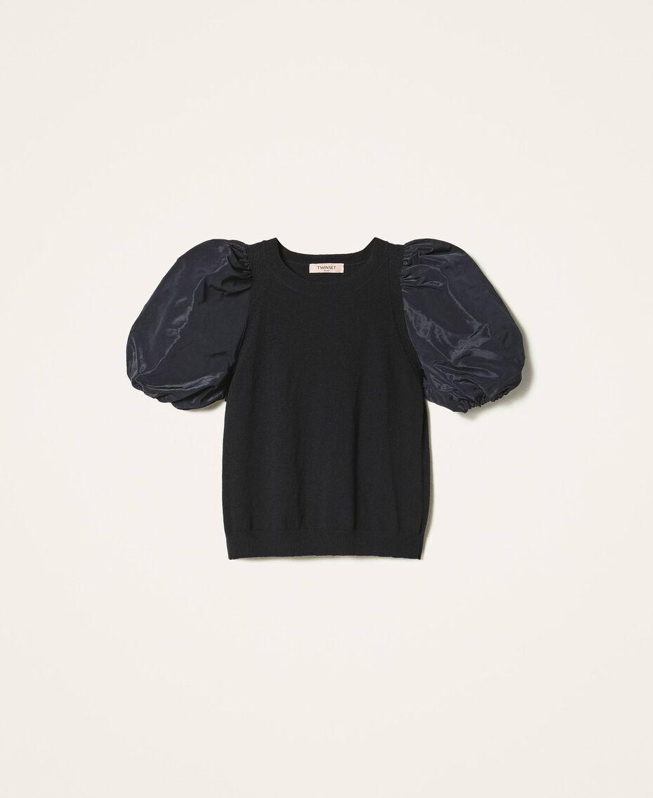 Wool blend jumper with taffeta sleeves Dark Royal Blue Woman 202TP3250-0S