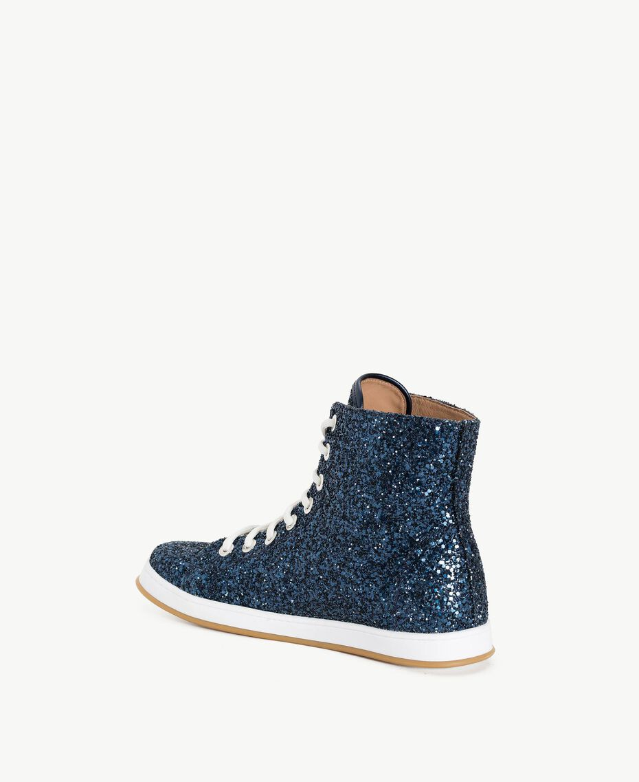 TWINSET Glitter sneakers Dark Blue Woman CS8PM7-03