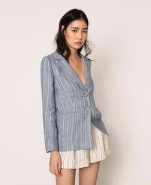 Double breasted pin stripe linen blazer Blue Pin / Antique White Stripes Woman 201TT2303-02