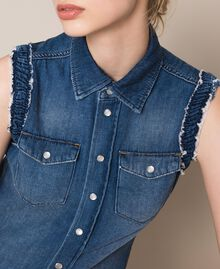 Raw cut denim shirt Denim Blue Woman 201MT2348-04