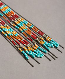 Choker necklace with chain fringes and beads Tile Blue Woman 191TO534B-02