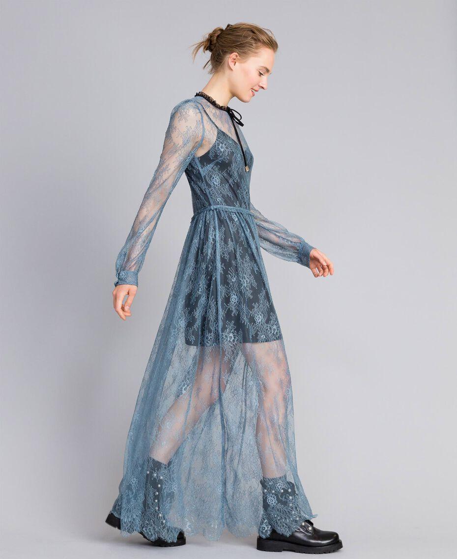 Robe longue en dentelle de Valenciennes Bleue poudre Femme PA82F2-02
