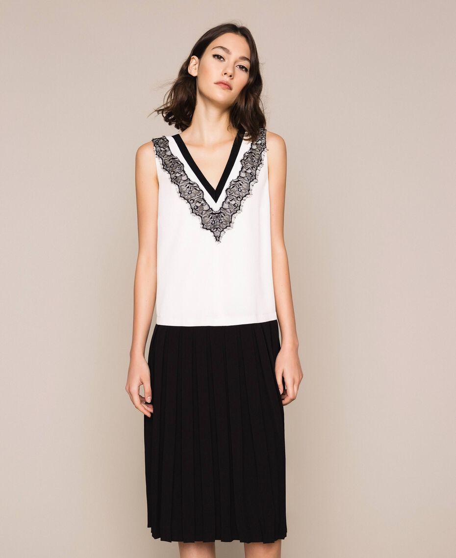 Robe longue en crêpe de Chine avec dentelle Bicolore Blanc «Soie»/ Noir Femme 201ST2010-01