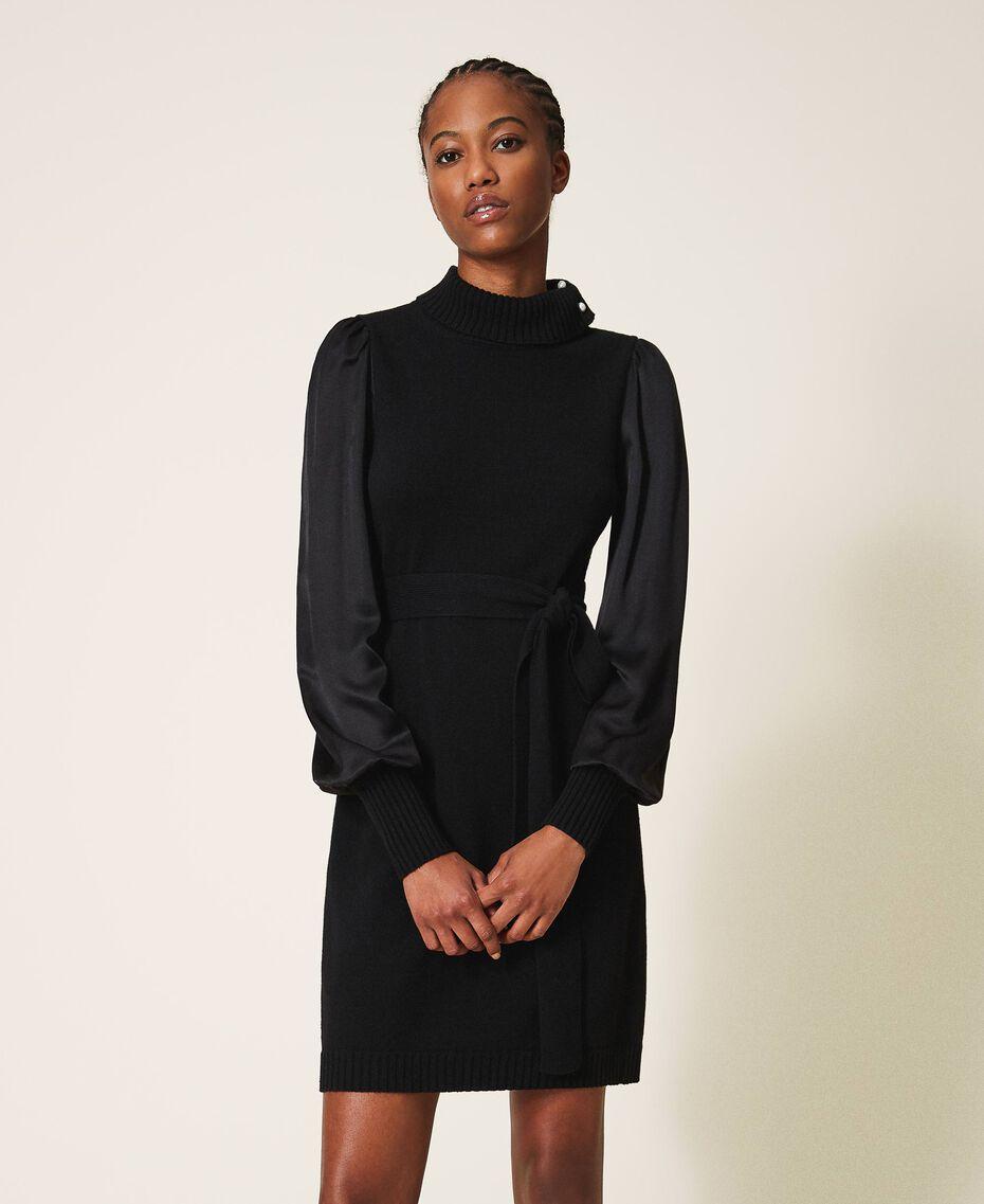 Платье из полушерсти с атласом Черный женщина 202TT3170-02