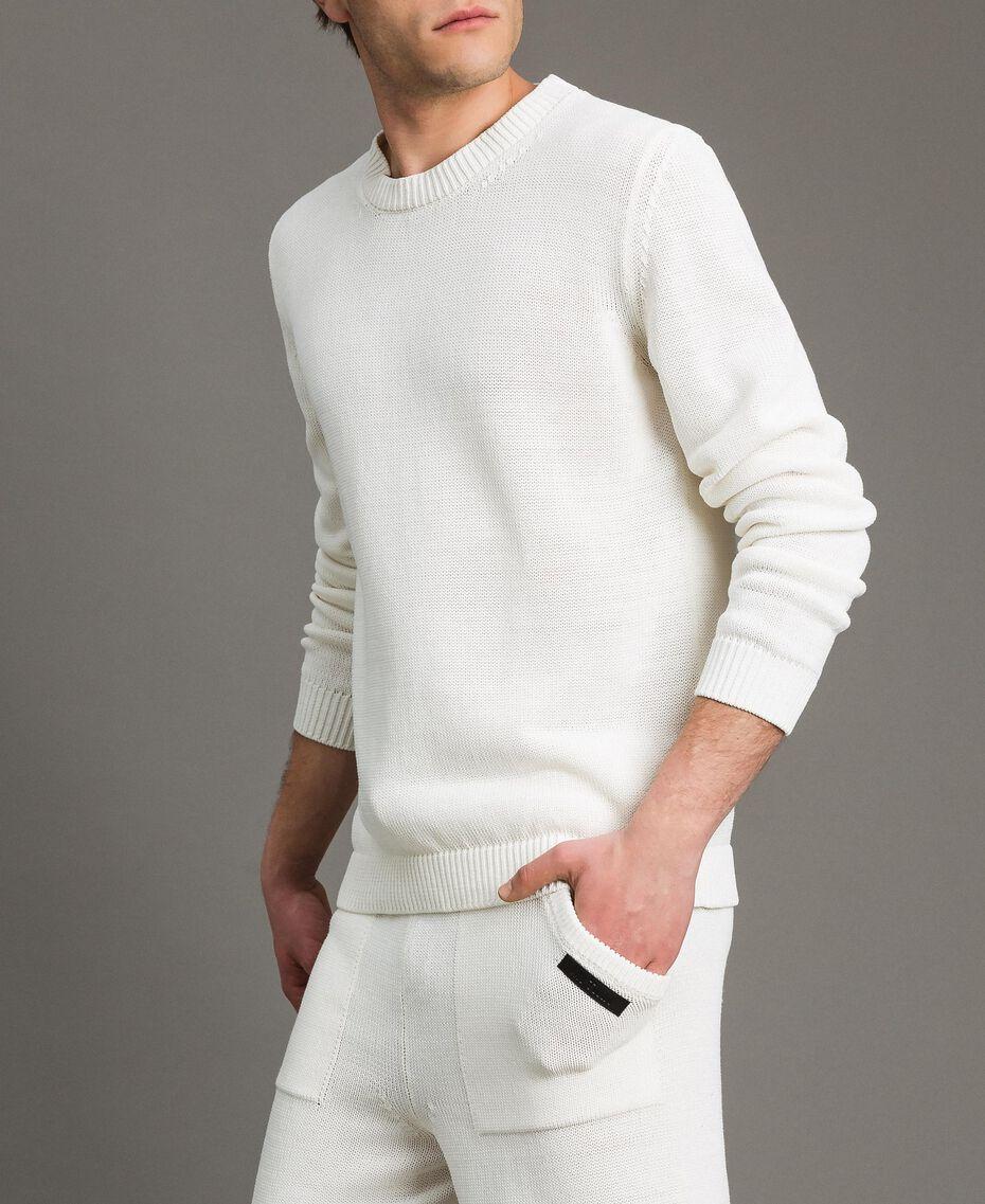 Cotton-blend jumper Matte White Man 191UT3082-02