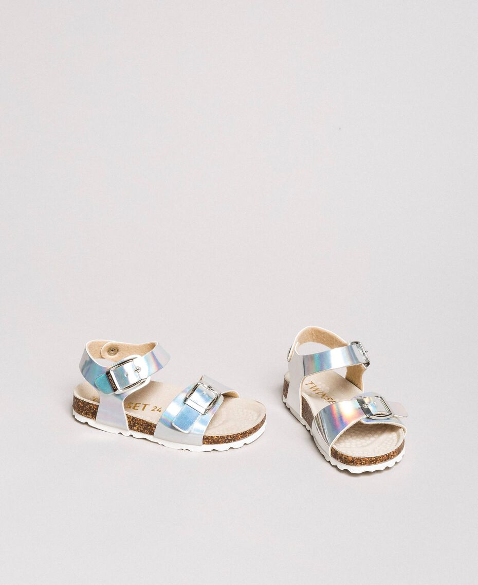 Sandales en cuir laminé Argent / Nickel Enfant 191GCB162-02