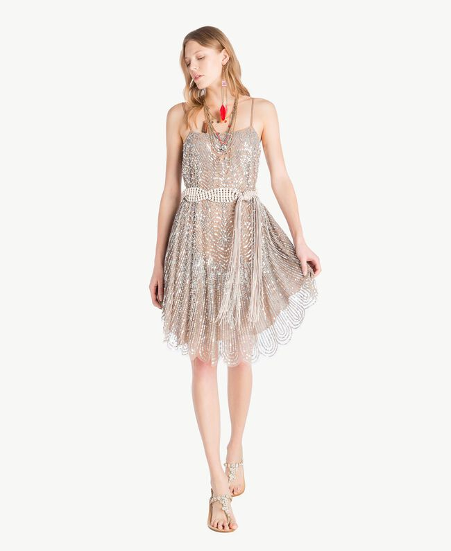 All over sequin dress Dark Silver Woman TS82EA-01