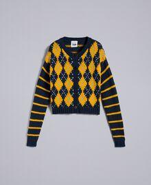 """Mini cardigan con losanghe e righe Multicolor Blu Night / Giallo """"Golden Yellow"""" / Blue Denim Donna YA83L1-0S"""