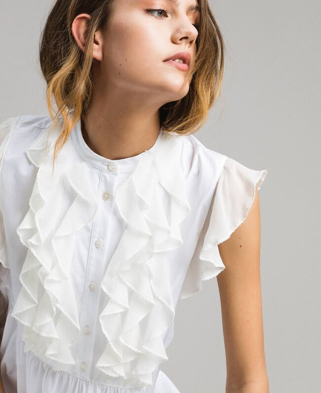 Poplin long dress with ruches White Woman 191TT2262-05