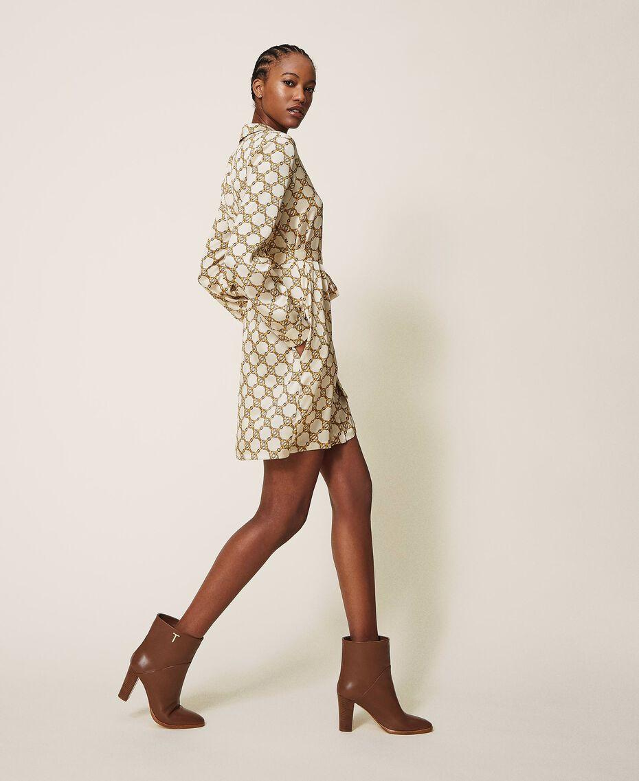 Chain print shirt dress Ivory / Gold Chain Print Woman 202TT2210-01