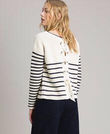 Striped top with eyelets Deep Blue / Snow Striping Woman 191TP3121-03