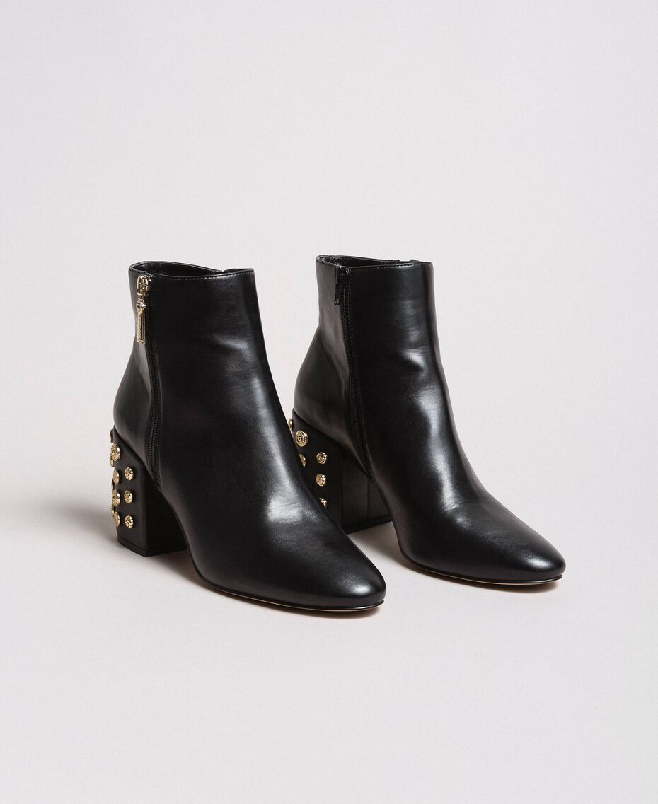 Faux leather ankle boots with jewelry heels Black Woman 191MCP046-02