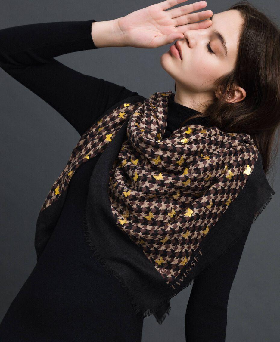 Keffieh avec imprimé papillons et logo Imprimé Papillon Or Foncé Femme 192TO536G-0S