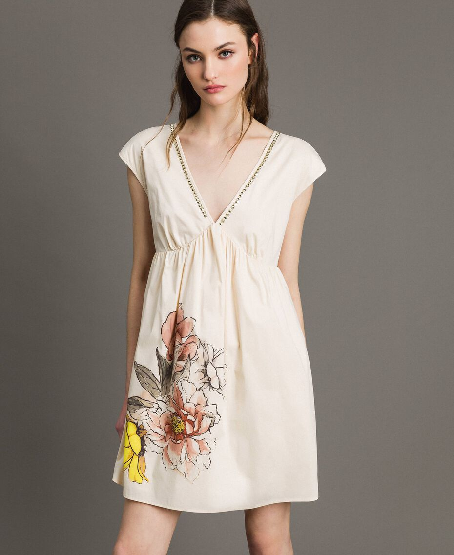 "Poplin dress with print and studs ""Shell"" Beige Woman 191MT2140-02"