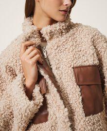Короткое пальто из искусственной овчины Розовый Cloud Pink женщина 202LI2BAA-05