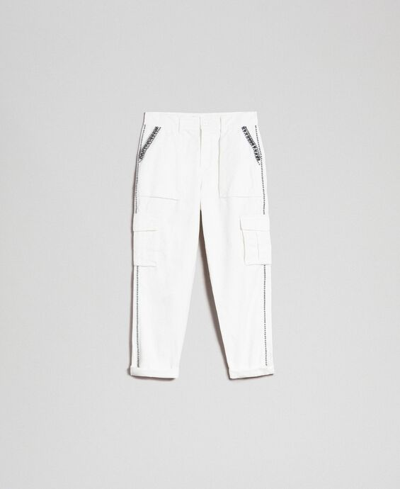 Combat trousers with stones and studs