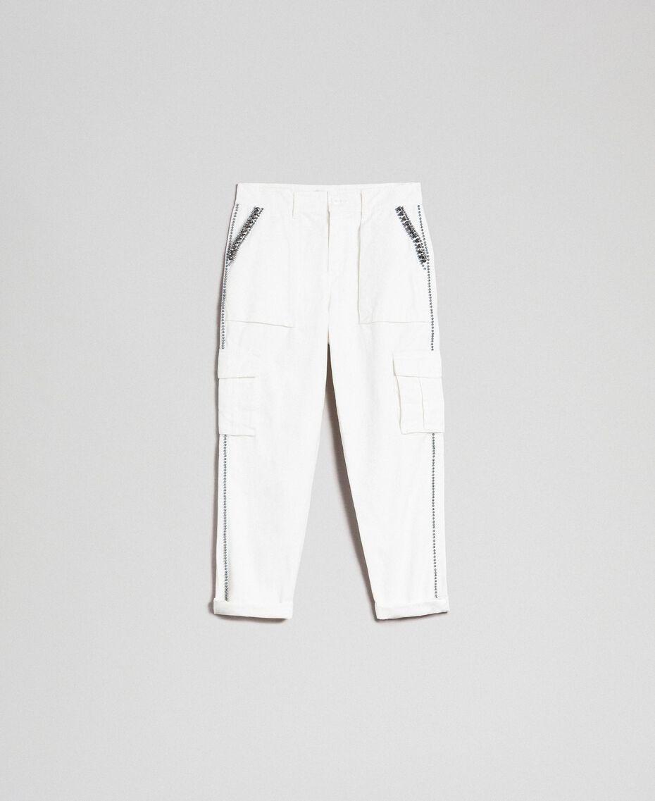 Pantaloni combat con pietre e borchie Bianco Neve Donna 192TP2583-0S