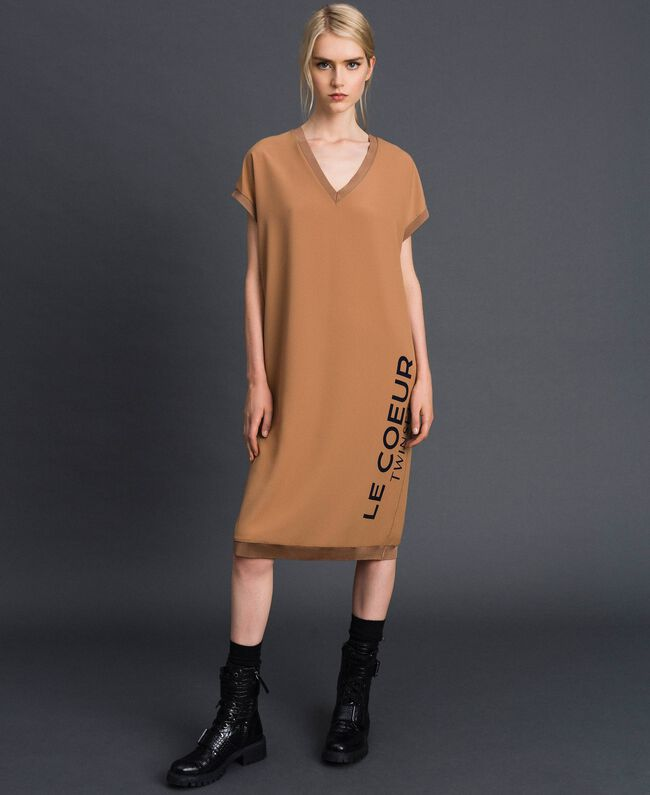 "Crêpe de Chine dress with logo print ""Sequoia"" Beige Woman 192ST2081-01"