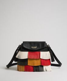 Faux leather bucket bag with fringes and studs Poppy Red / Saffron Yellow / Vanilla Woman 192MA7020-03