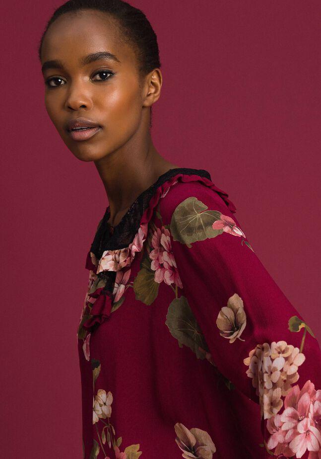Bluse aus Krepon mit Blumenprint