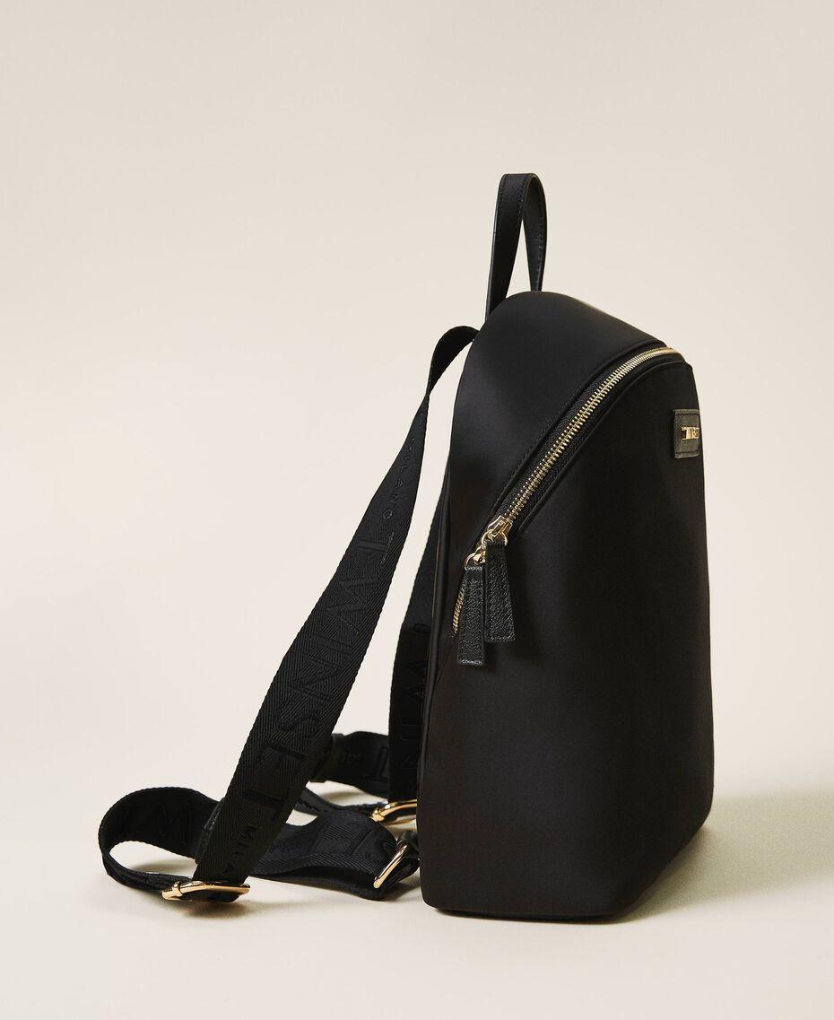 Twinset Bag im Rucksackformat aus Satin Schwarz Frau 202TB7201-01